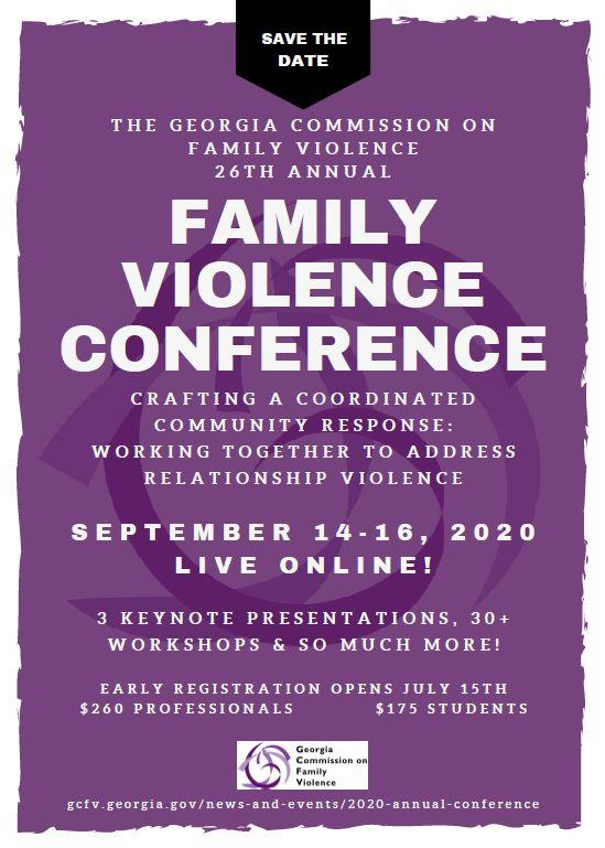 Save the Date for the 26th Annual Family Violence Conference, Sept. 14-16, 2020