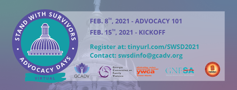 Banner contains the Stand With Survivors Day logo, sponsor logos, registration link and email for contact, along with text: February 8th Advocacy 101, and February 15th Kickoff