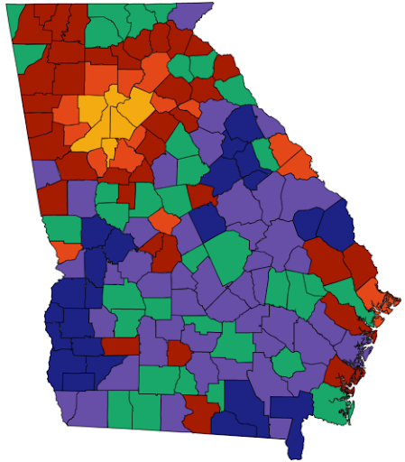 A brightly colored map of Georgia which contains counties shaded in one of six colors